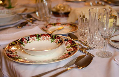 Closeup of fancy formal table setting