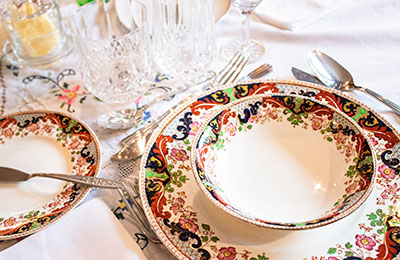 Closeup of formal place setting