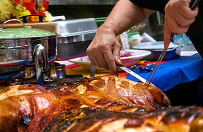 Closeup of carving meat