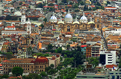 Long view of the city of Cuenca, Ecuador, showing varied architectural styles